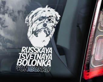 Russkaya Tsvetnaya Bolonka on Board - Car Window Sticker - Tsvetnaya Zwetna  Dog Sign Decal - V01