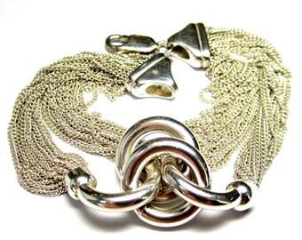 Sterling Silver Multi-Strand Mesh-Like Bracelet
