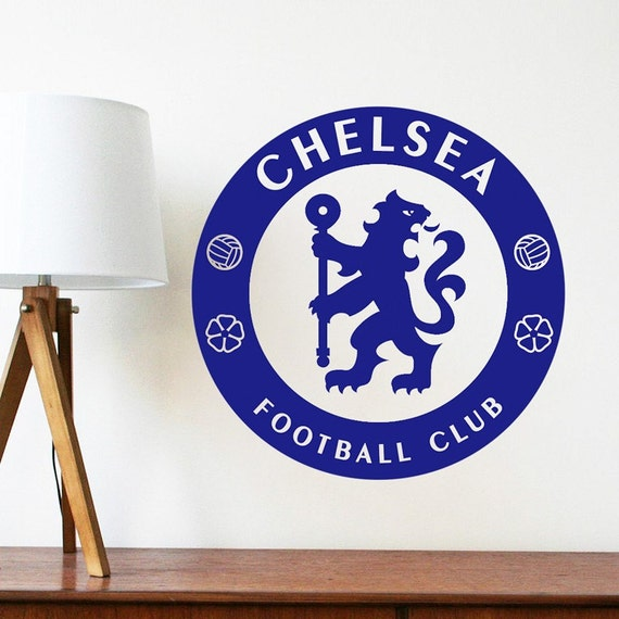 Vinyl Wall Decal - Chelsea Soccer Football team logo Wall Sticker School Sports Wall Decals For Boy kids room Bedroom