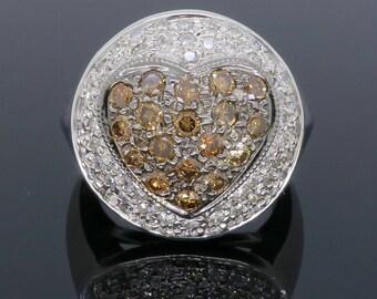 Unique Chocolate Color Heart 1.50CTW Diamond Ring
