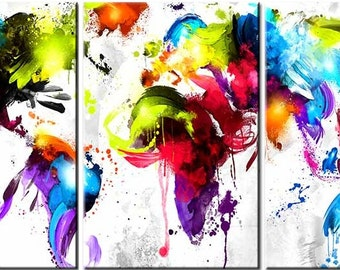 Abstract World Map,Canvas, 3 Panels Digital Print, Wall Art