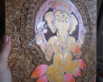 Ganesha Art, God, Henna, Mehendi, Mehndi, Painting, Acrylic, Yoga, Om, wall decor, ready to hang, amulet, charm, talisman, Lotus, Indian art