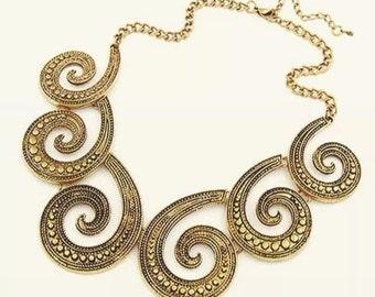 Swirl, Golden Detail Fashion Necklace