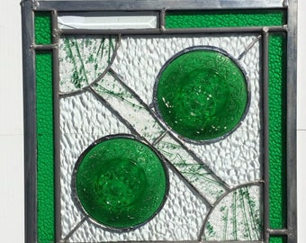 Green Oatmeal Stained Glass Panel