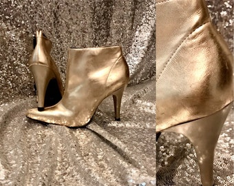 1980s Golden Disco Ankle Boots