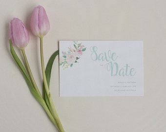 Pastel Floral Save the Date - Spring Mint Save the Date - Pretty Save the Date - Wedding Save the Date card