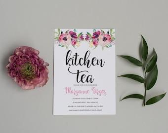 Printable Bridal Shower Invitation - Pink Floral Kitchen Tea Invitation - Hen Party Invitation - Printable Template