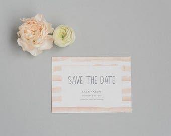 Rustic Peach Save the Date card - Modern Spring Save the Date - Wedding Save the Date card