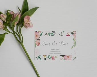 Tropical Summer Save the Date - Rustic Floral Save the Date - Wedding Save the Date card