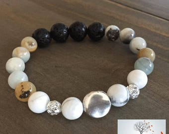"Natural Stone Elastic Bracelet - ""Compassion and Peace"" (Flower Amazonite, Howlite, lava Rock)"