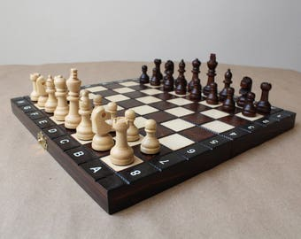 Wooden chess board.Wood chess set.Chess set wood.Wooden chess set.Handmade wood chess.Small wooden chess board and pieces.10.5*10.5 inch.