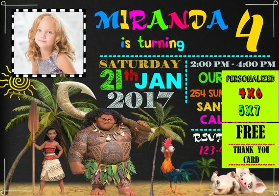 Disney Moana Printable Birthday Photo Invites