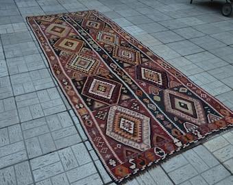 Vintage Kilim rug. Turkish kilims. Turkish nomadic kilim rug. Vintage rug. Free shipping. 11.1 x 4.2 feet.