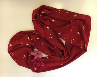 Red Japanese silk long infinity scarf