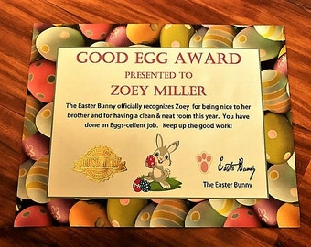 Easter Good Egg Award and Letter FREE SHIPPING