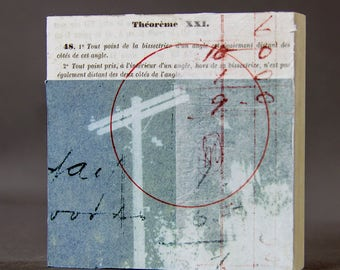 THEOREM  collage, printmaking, ephemera, collage art, mixed media, art, original art, free domestic shipping
