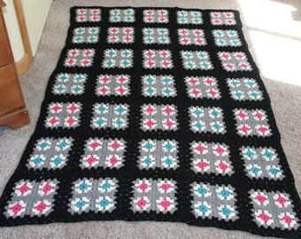 Vintage Granny Chic Handmade Crocheted Afghan Blanket