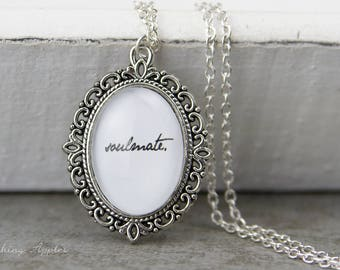 "Necklace ""Soulmate"" / quote, quote, message, minimalist,"