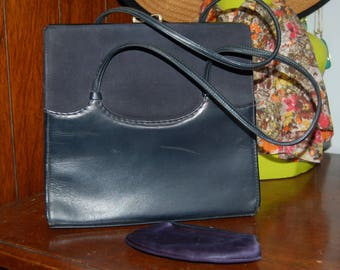 Vintage Navy leather and suede Waldybag handbag with matching  satin purse