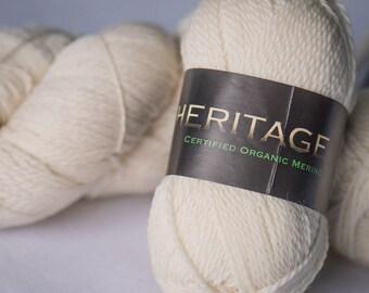 Organic Wool 5ply/Sport Yarn - Heritage Organic Merino - cream, ecru - 100% organic merino wool - crochet, knitting, felting