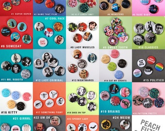 "Themed Pin-Back Button Set of 5 1"" Round"