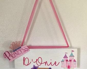Princess Kids Name Door Sign
