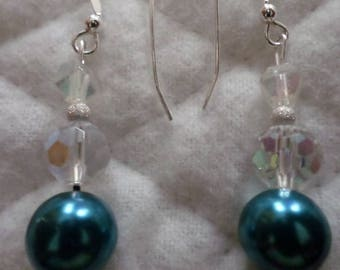 Sterling Silver With Cobalt Blue Beads Pierce Earrings