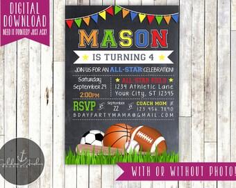 Sports Birthday Invitation, Sport Party Invite, Photo - Printable DIY