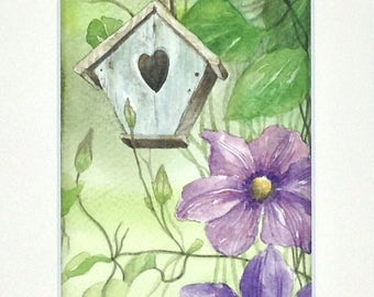 "Table watercolor ""a day in the country"" the Bird House"