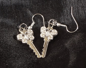Earrings, Silver Plate Butterfly Key Earrings (000060)