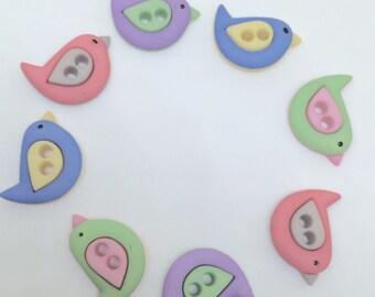 Bird shaped buttons, cute button designs, fun buttons