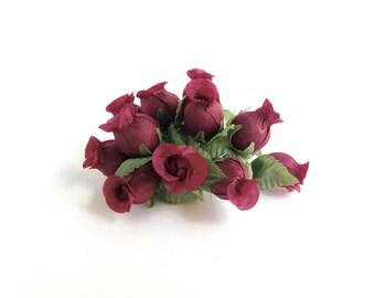 12 Millinery flowers, marsala, miniature rose buds burgundy, tiny flowers, bridal hair accessory, wedding crown flowers, marsala wedding