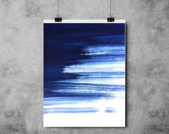Blue Paint Brush Strokes - A4/A3 - Art - Modern - Painting