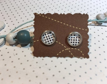 "Stud Earrings cabochon ""white dots"""