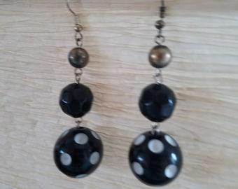 Funky Vintage Polka Dot Tiered Earrings