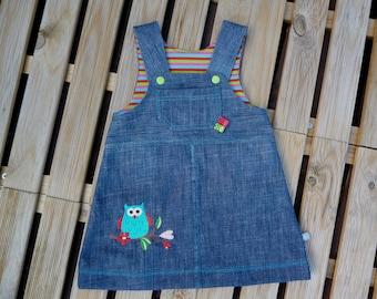 Sarafan jeans dress size 74 Upcycling OWL