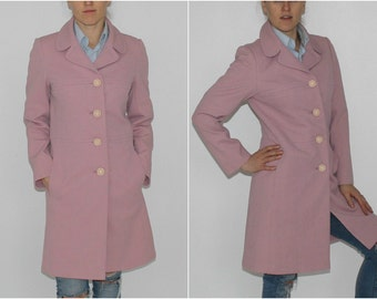 Spring Pink Coat Vintage Salmon Pink Coat Trench Coat 90s Straight Cut Coat Pink Coat Knee Length Coat Pale Pink Coat English Lady Coat
