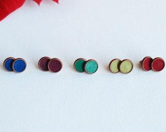 Leather Stud Earrings- Leather Earrings- Stud Earrings- Recycled Earrings- Boho Earrings- Vintage Gold Earrings -12 mm