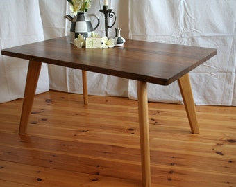"Coffee table ""Black-50"" mid century style of walnut and oak"