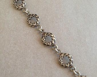 Vintage Silver Textured Circle Bracelet