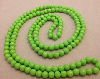 Vintage Plastic Green Bead Necklace