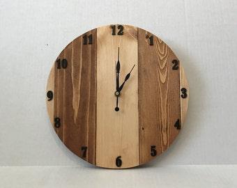Handmade Round Wooden Wall Clock; Wooden Wall Clock; Round Wall Clock; Wooden Clock; Numbered Wall Clock; Round Wooden Clock