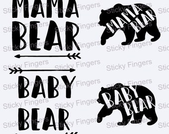 Mama Bear and Baby Bear Decal set