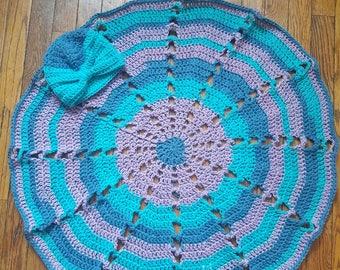 Matching baby blanket and turban set