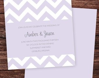 Orchid Chevron Printable Wedding Invitation with RSVP