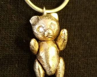 Teddy Bear/14K Gold/Diamond Eyes/Moveable Head, Arms & Legs/Pendant/Necklace/For the Teddy Bear lover/Handmade