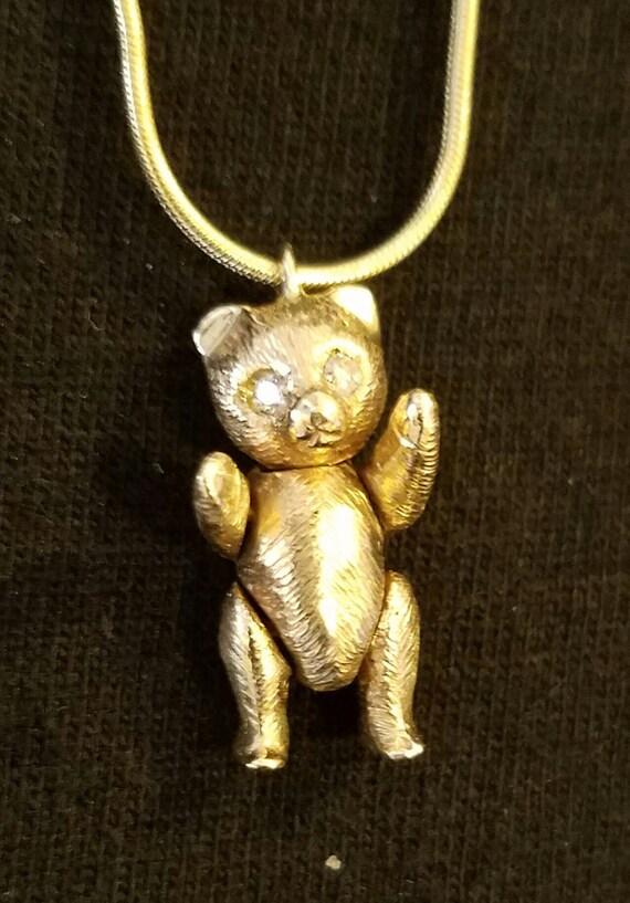 Teddy Bear 14k Gold Diamond Eyes Moveable Head Arms