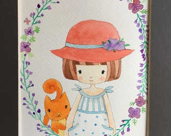 summer little girl with her squirrel, Original painting
