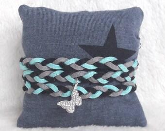 Bracelet black grey turquoise charm pendant