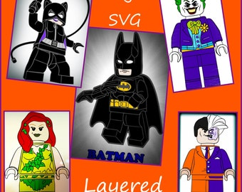 Lego SVG - Lego Batman, Poison Ivy, Catwoman, Joker, Two Face SVG - designs made for Cricut and Silhouette